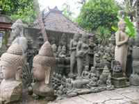 batubulan village with craft stone sculpture