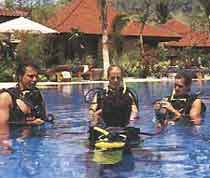 swimming at matahari beach resort